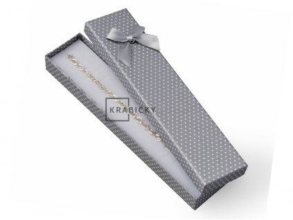 Dárková krabička na řetízky -  šedá s mašlí