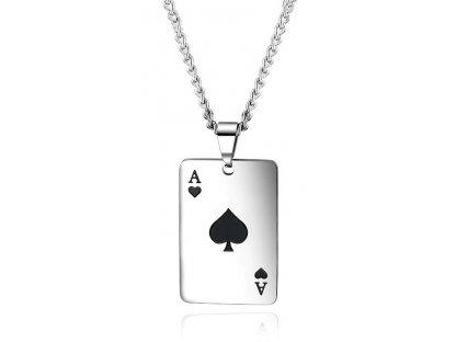 Karetní hra - černé eso včetně řetízku