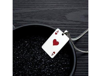Karetní hra - červené eso včetně řetízku