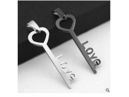 Klíč - Love - stříbrná barva