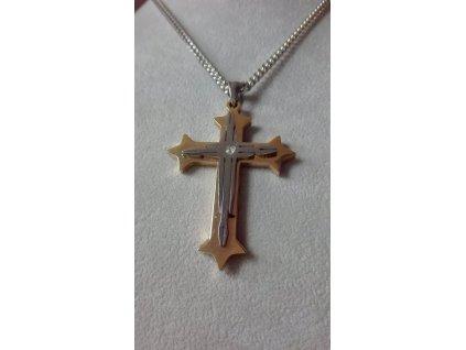 Kříž stříbrno - zlaté barvy 7