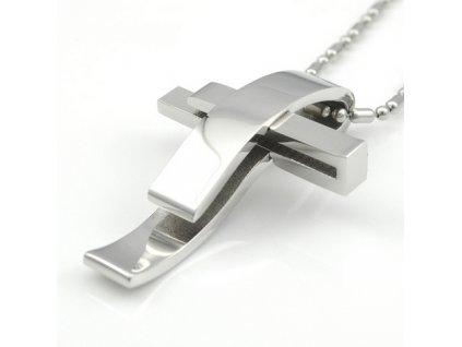 Kříž včetně řetízku - stříbrná  barva 3