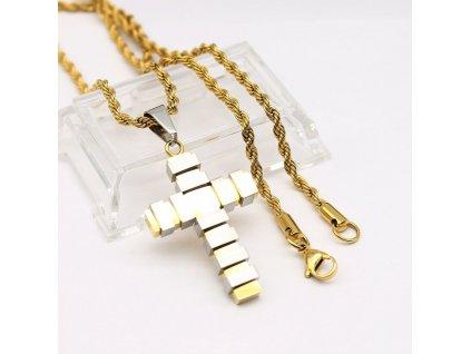 Kříž - včetně řetízku - stříbrno - zlatá barva 2