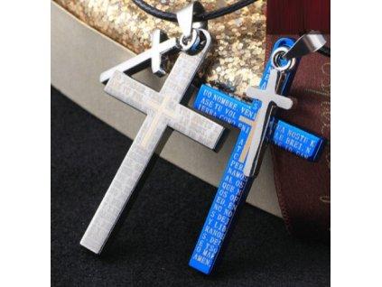 Křížek modrý s popisem - malý křížek