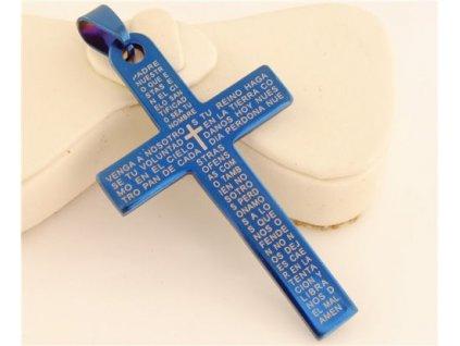 Křížek modrý s textem 2