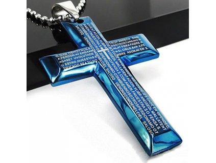 Křížek modrý s textem malý