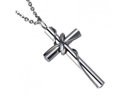 Křížek s prstenem lesklý včetně řetízku