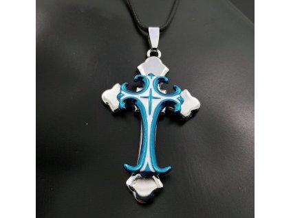 Křížek stříbrno-modré barvy 2