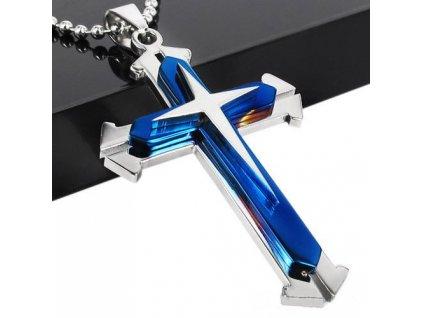 Křížek stříbrno-modré barvy 3