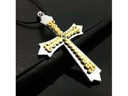 Křížek stříbrno-zlaté barvy