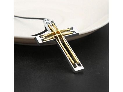 Křížek - stříbrno-zlaté barvy 8