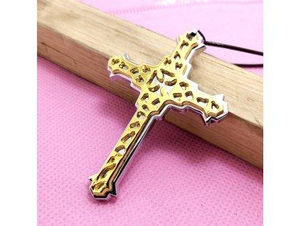 Křížek - stříbrno - zlaté barvy - ornament 27