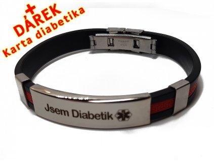 Náramek - Jsem Diabetik průměr 6.5 cm - černený 2