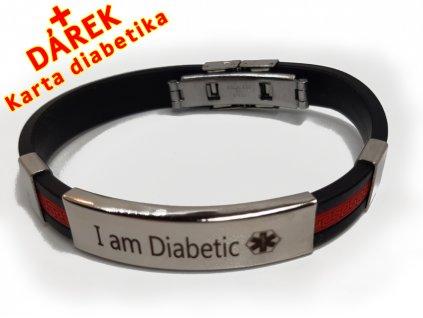 Náramek - Jsem Diabetik průměr 6.5 cm - černený 2 en