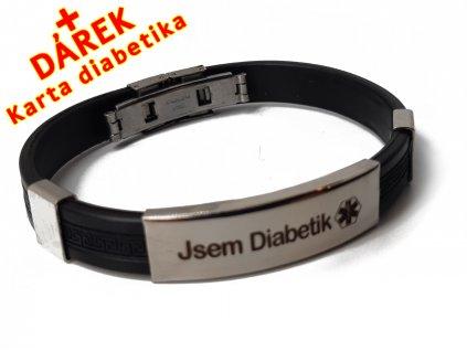 Náramek - Jsem Diabetik průměr 6.5 cm - černý 2