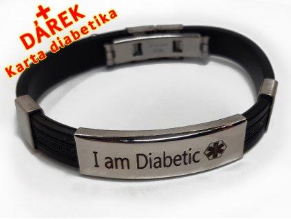 Náramek - Jsem Diabetik průměr 6.5 cm - černý 2 en