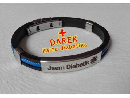 Náramek - Jsem Diabetik průměr 6.5 cm - modrý 2
