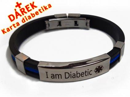 Náramek - Jsem Diabetik - průměr 6.5 cm - modrý