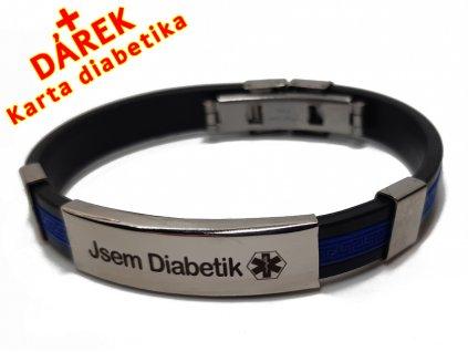Náramek - Jsem Diabetik průměr 6.5 cm - modrý 3