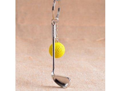 Přívěsek na klíče - golfová hůl, žlutý míček