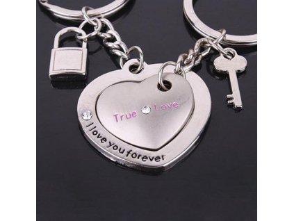 Přívěsek na klíče - srdce pro pár