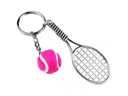 Přívěsek na klíče - tenisová raketa s míčkem 2