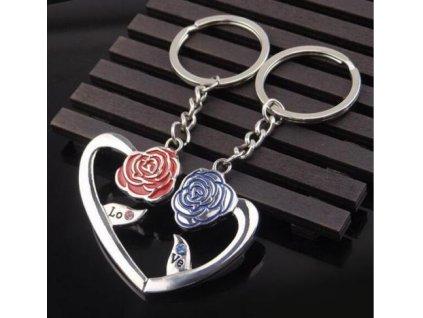 Přívěsky na klíče - růže pro pár