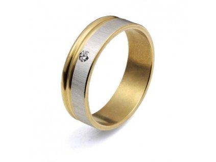 Prsten R-080-stříbrno - zlaté barvy s kamínkem