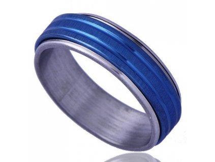 Prsten stříbrno - modrý