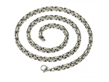 Řetízek z chirurgické oceli - stříbrná barva - 5 mm, 55 cm