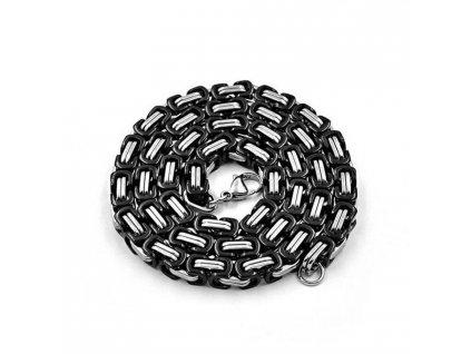 Řetízek z chirurgické oceli - stříbrno - černá barva - 6 mm, 55 cm