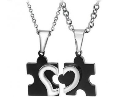 Srdce Puzzle černé - pro dva