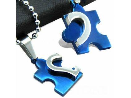 Srdce Puzzle modré - pro dva