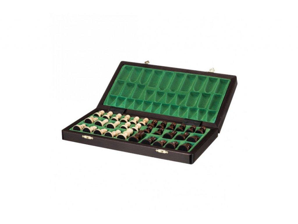 ŠACHOVÁ SOUPRAVA - Velké magnetické dřevěné šachy  - tmavé dřevo