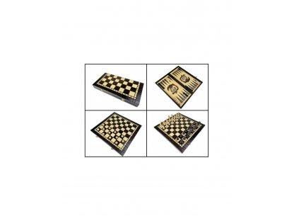ŠACHOVÁ SOUPRAVA - Cestovní malé dřevěné šachy+dáma+backgammon ( 3 v 1)