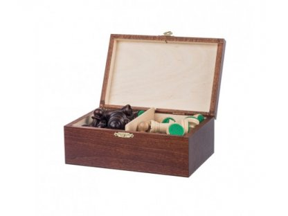 Wooden pieces in a box - chess