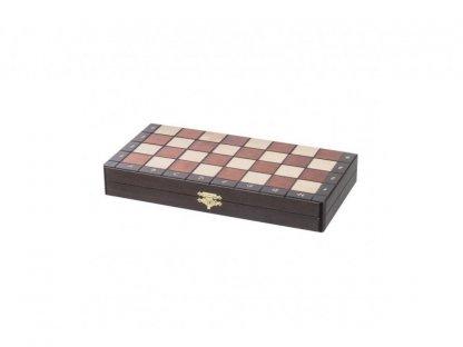 Velké magnetické dřevěné šachy  - tmavé dřevo