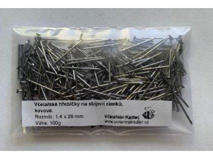 Hřebíčky kovové na sbíjení rámků 1,4x28 mm, 100 g