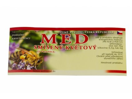Samolepící etiketa-motiv Med smíšený květový