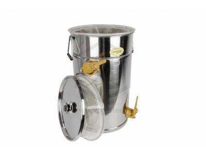 Stáčecí a čeřící nádoba na med nerez, 50kg+síto