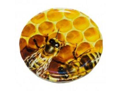 Víčko na sklenici na med - dvě včely