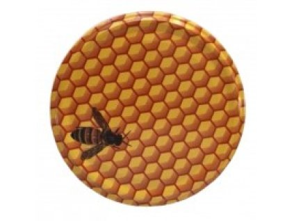 Víčko na sklenici na med - včela malovaná